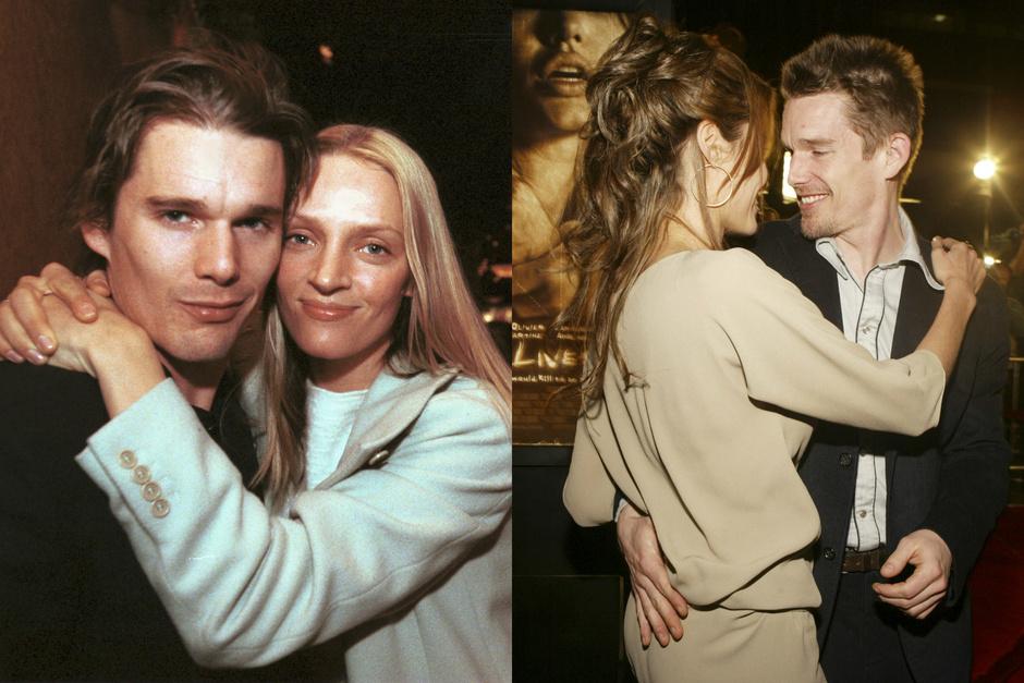 Итан Хоук с Умой Турман и с Анджелиной Джоли