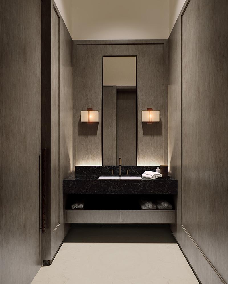 Ванная комната при домашнем кинотеатре. Стены обиты панелями буазери в стиле ар-деко — проект Сергея Чобана и Екатерины Федорченко.