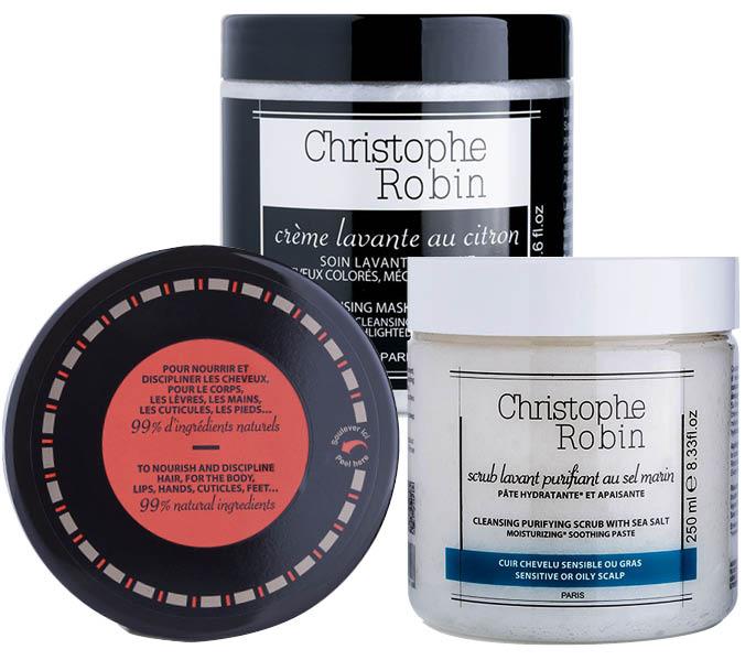 1. Восстанавливающий бальзам для непослушных волос; 2. лимонная маска; 3. очищающий скраб на основе морской соли - все Christophe Robin