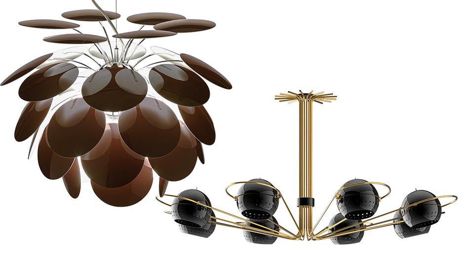 Светильник Discocó, дизайн Кристофа Матье для Marset — современная вариация на тему классической модели PH Artichoke, дизайн Поуля Хеннингсена для Louis Poulsen. Люстра Neil от Delightfull, стилизация под 1960-е годы, магазин Archive.