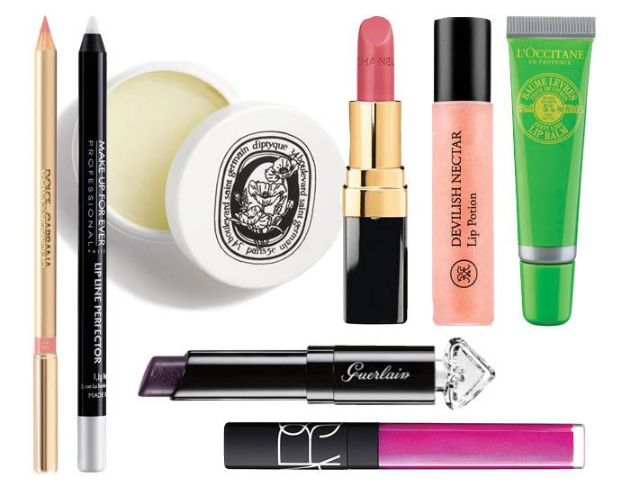 1. Бесцветный карандаш для губ Dolce & Gabbana; 2. Бесцветный карандаш для губ Make Up Forever; 3. Бальзам для губ diptyque; 4. Помада Chanel Rouge Coco; 5. Блеск для губ Rouge Bunny Rouge Devilish Nectar; 6. Бальзам для губ L'Occitane; 7. Помада Guerlain La Petite Robe Noire; 8. Блеск для губ NARS Easy Lover