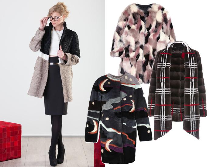 На модели - шуба Nevris, шуба из лоскутов - Nina Ricci, пальто в клетку - Braschi, шуба с рисунком - Alena Akhmadullina