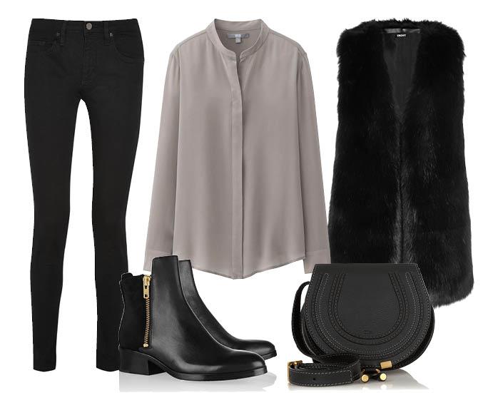 Выбор ELLE: жилет DKNY, джинсы Victoria Beckham Denim, полуботинки 3.1 Philip Lim, сумка Chloe
