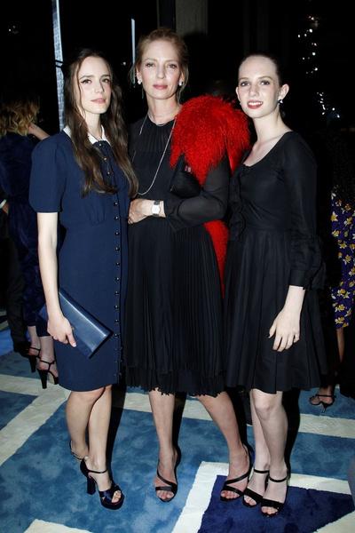 Стейси Мартин и Ума Турман с дочерью Майей Хоук