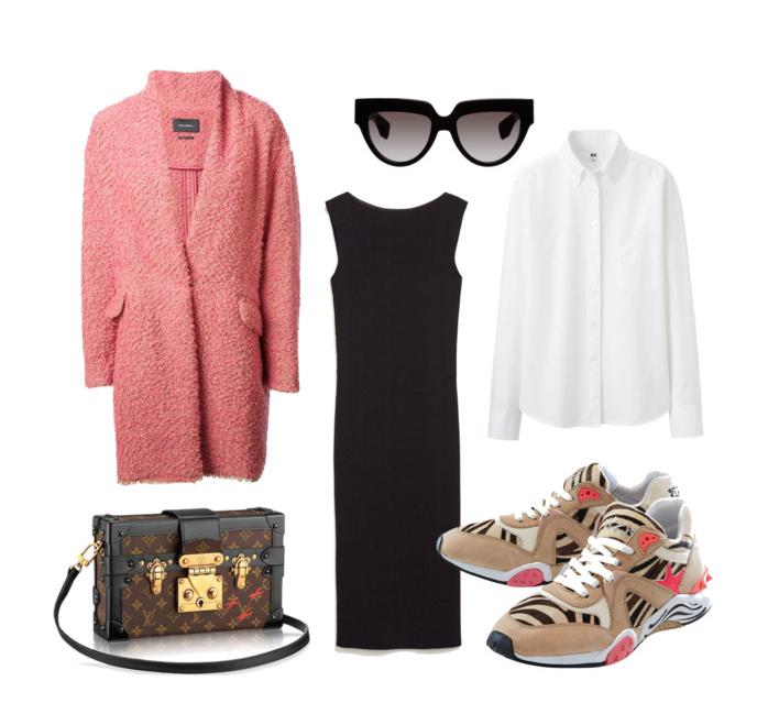 Выбор ELLE: пальто Isabel Marant, платье Zara, рубашка Uniqlo, солнечные очки Prada