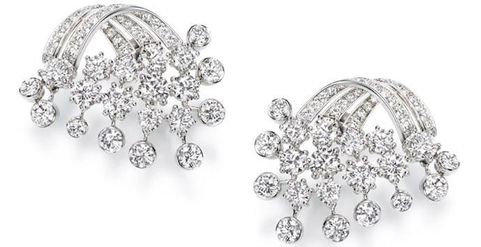 Серьги, белое золото, бриллианты, Piaget