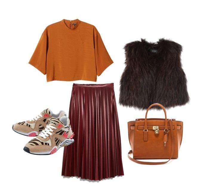 Выбор ELLE: топ Monki, меховой жилет Isabel Marant, юбка Mango, сумка MICHAEL Michael Kors