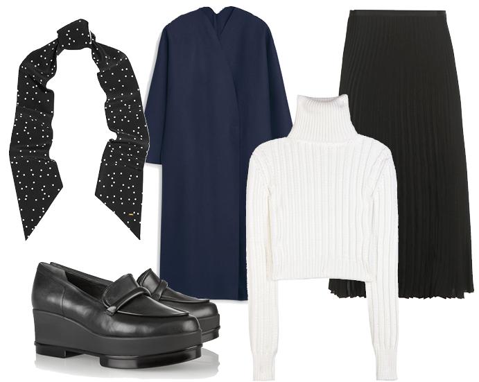 Выбор ELLE: пальто Mango, водолазка Calvin Klein, юбка Rag&Bone, обувь Robert Clergerie
