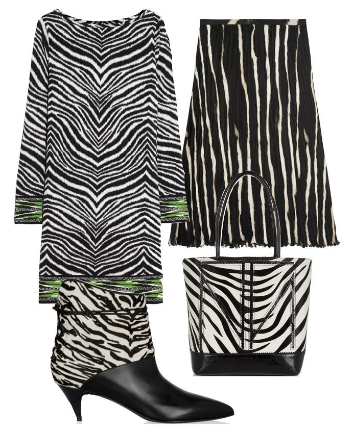 Выбор ELLE: платье Michael by Michael Kors, юбка Roberto Cavalli, сумка Tamara Mellon, ботильоны Saint Laurent