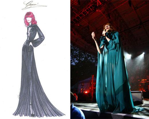 Эскизы костюмов Gucci для турне Флоренс Уэлч; Флоренс в платье Gucci на концерте.