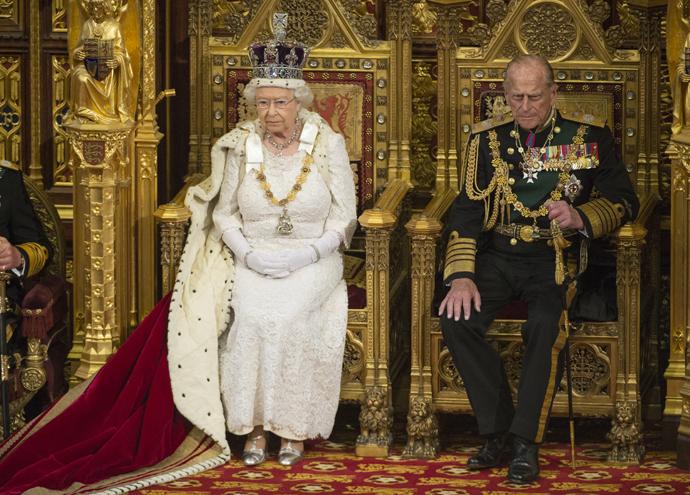 Елизавета II и принц Филипп на открытии парламента