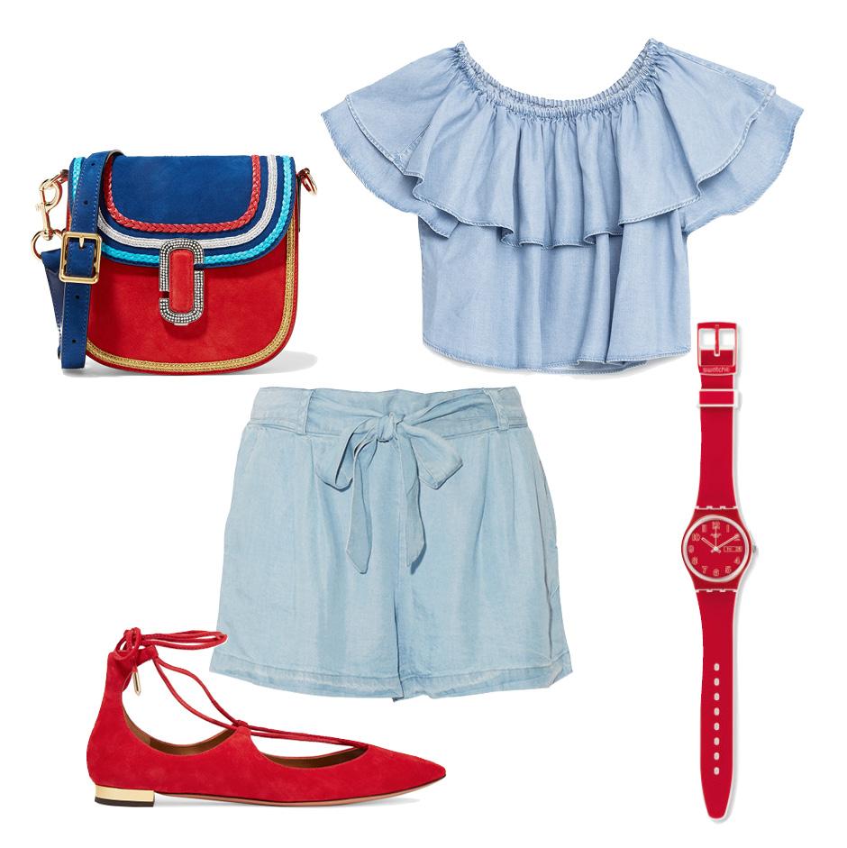 Выбор ELLE: шорты Splendid, балетки Aquazzurra, сумка Marc Jacobs, часы Swatch