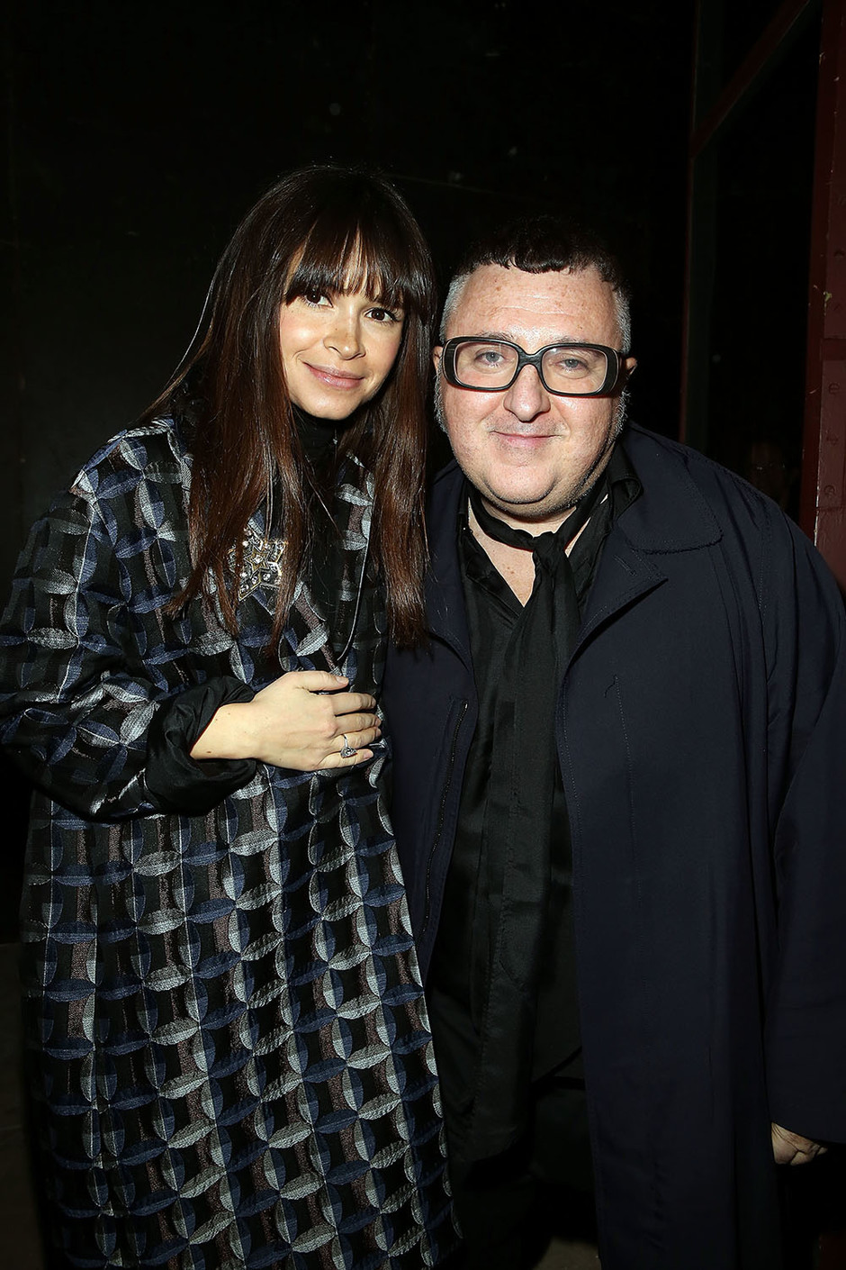 Miroslava Duma and Alber Elbaz pose after the Lanvin show as part of the Paris Fashion Week March 5, 2015