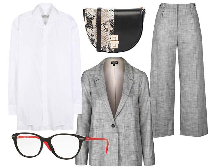 Выбор ELLE : костюм TopShop, рубашка Fendi, оправа Vogue Eyewear