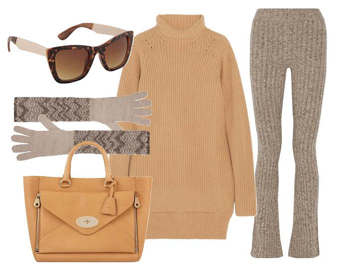 Выбор ELLE: вязаные брюки Marc Jacobs, сумка Mulberry, солнцезащитные очки Aldo, перчатки Missoni