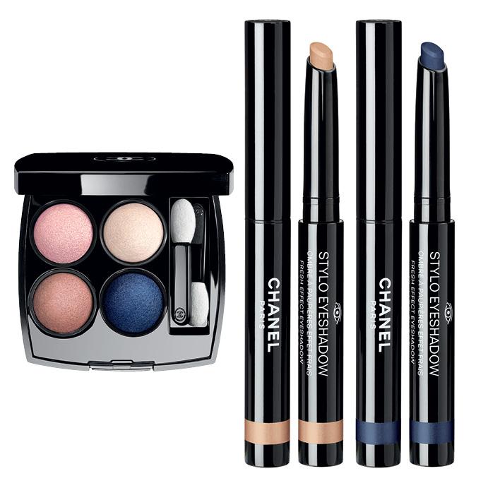 «Les 4 Ombres» Tisse Particulier; кремовые тени-карандаш «Stylo Eyeshadow» Beige Dore и Bleu Nuit