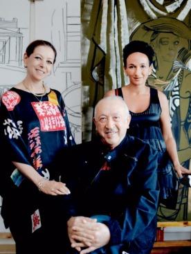 Таир, Варвара и Айдан Салаховы в мастерской дома в Нардаране