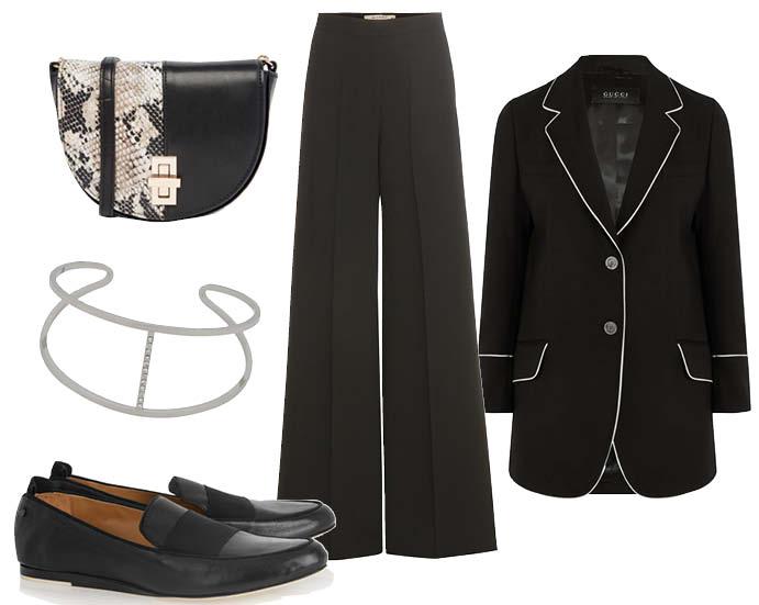 Выбор ELLE : блейзер Gucci, брюки Etro, браслет Aldo, лоаферы Rag&Bone
