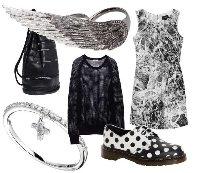 Ботинки Dr. Martens, свитер Equipment, кольца все — J-Point, платье Monki, рюкзак Opening Ceremony