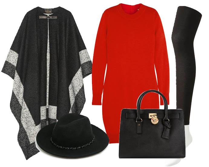 Выбор ELLE: пончо Roberto Cavalli, леггинсы Uniqlo, сумка Michael Kors, шляпа Mango