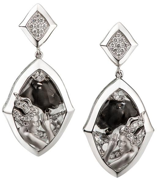 Серьги, белое родированное золото, бриллианты, Magerit, цена по запросу.