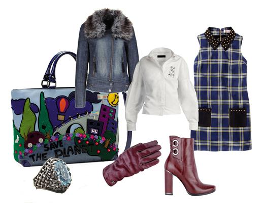 Куртка DKNY Jeans, блузка Burberry, платье Juicy Couture, перчатки и ботильоны Fabi, сумка TUA, кольцо Bottega Veneta