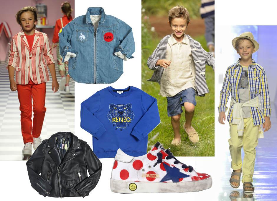 1. показ весна-лето 2016, Children's Fashion from Spain; 2. рубашка, Stella McCartney Kids; 3. показ весна-лето 2016, Il Gufo; 4. показ весна-лето 2016, Y-Clù; 5. куртка, MSGM; 6. свитшот, KENZO Kids; 7. кроссовки, Golden Goose Deluxe Brand