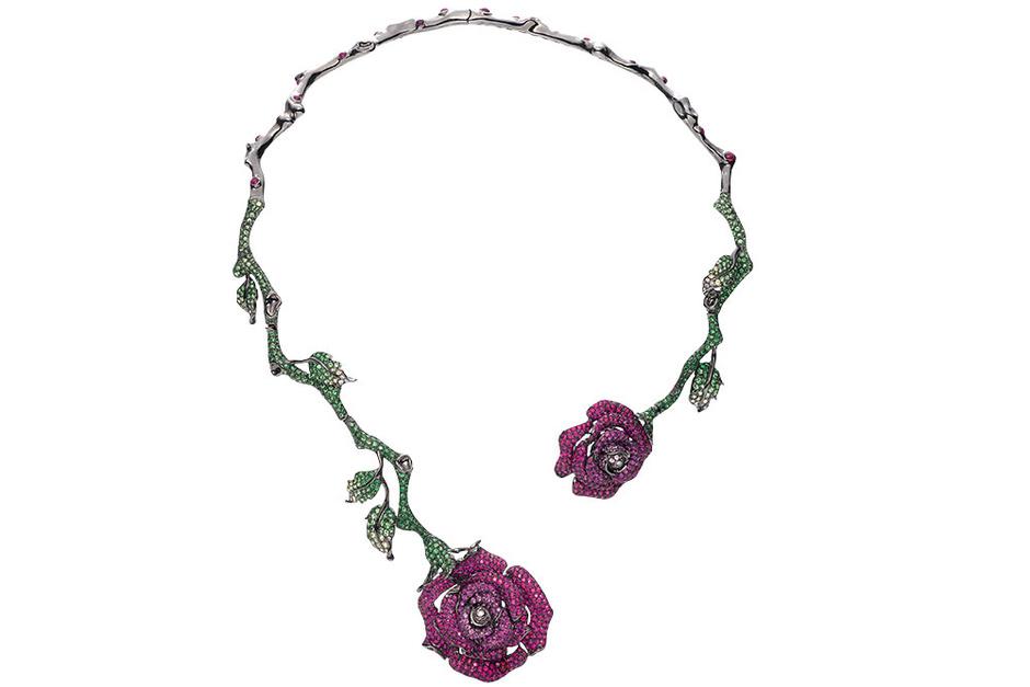 Колье, золото, бриллианты, розовые сапфиры, цавориты, Wendy Yue for Prima Exclusive, 2 200 000 руб.