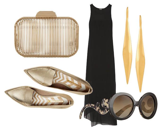 Выбор ELLE: платье DKNY, серьги Maiyet, клатч Jimmy Choo, солнцезащитные очки Prada с чем носить лоферы