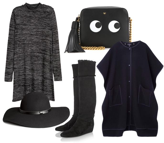 Выбор ELLE: пончо Cos, шляпа H&M, ботфорты Lanvin, сумка через плечо AnyaHindmarch