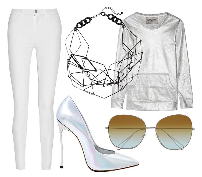 Выбор ELLE: свитшот Norma Kamali, лодочки Casadei, солнцезащитные очки Isabel Marant, колье H&M