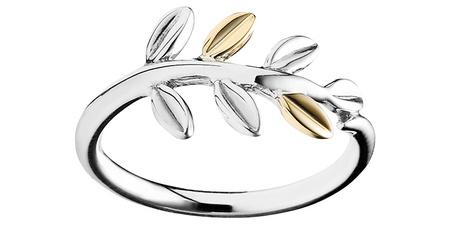 Кольцо Laura Leaves, серебро, золото, Pandora, магазины Pandora, 3950 руб.
