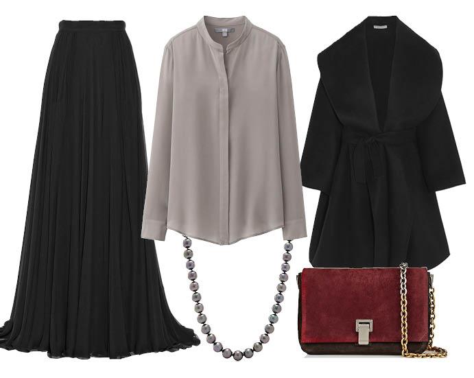 Выбор ELLE: юбка-макси Elie Saab, пальто Bottega Veneta, ожерелье Tiffany&Co, сумочка Proenza Schouler