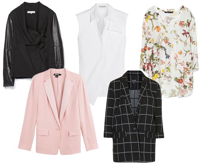 Выбор ELLE: блейзеры Zara, DKNY, TopShop; рубашки Balenciaga, Zara