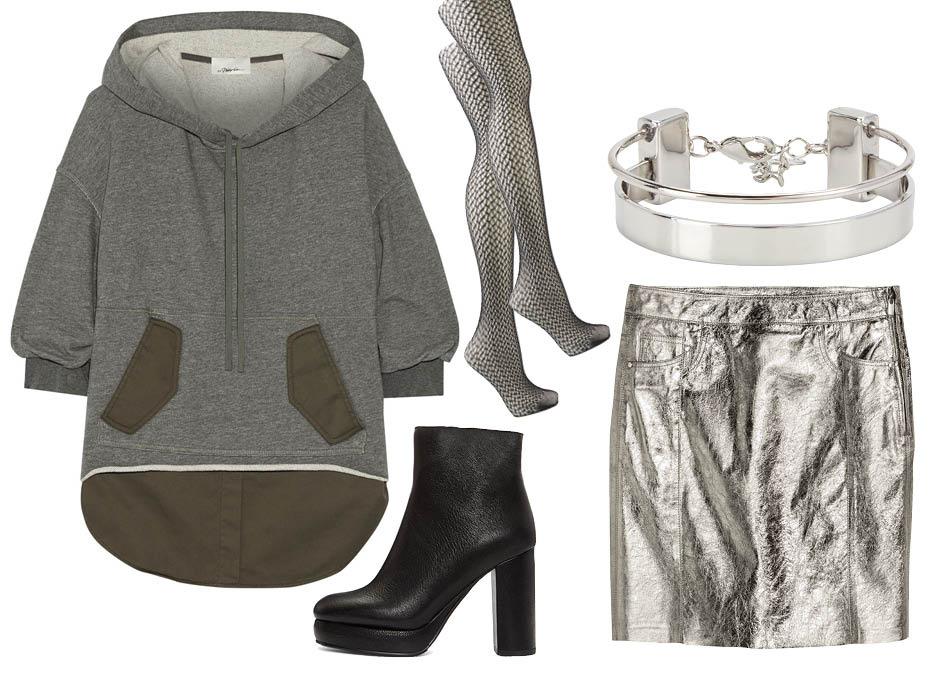 C чем носить худи? юбка H&M, ботильоны See by Chloe, колготки Wolford, браслет Aldo