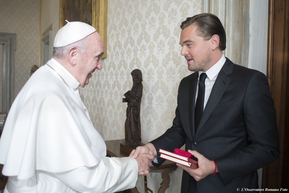 Папа Римский Франциск и Леонардо Ди Каприо