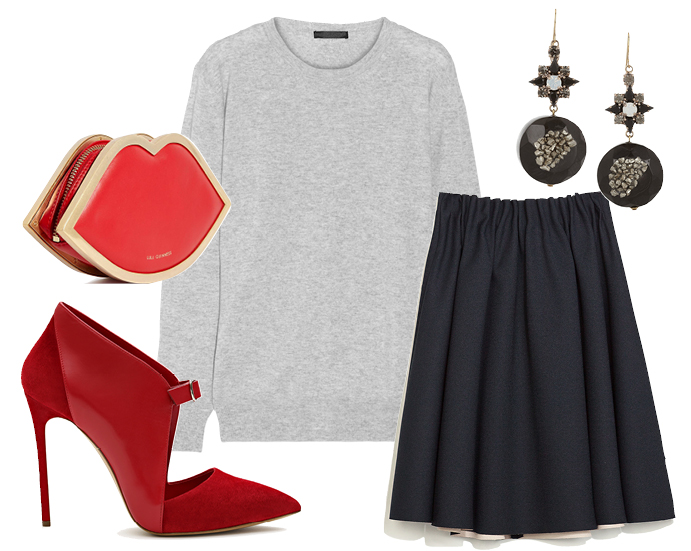 Выбор ELLE: юбка Zara, туфли Casadei, сережки Marni, клатч Lulu Guinness