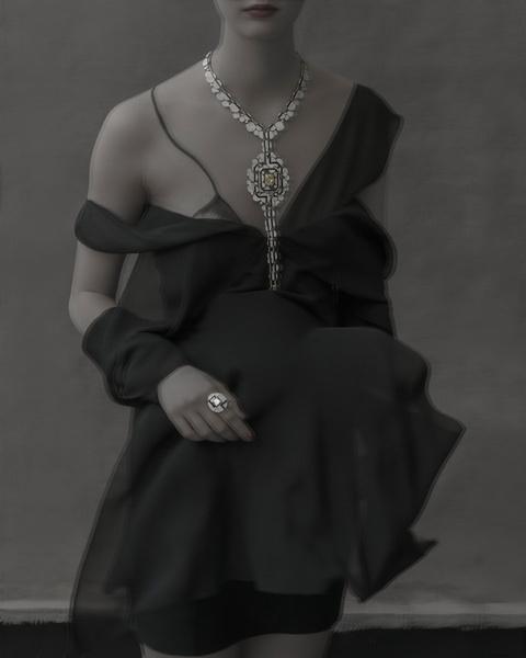 Колье Morning in Vendôme, белое и желтое золото, бриллианты, оникс, кольцо Bubbles, белое золото, бриллианты, оникс, все — Chanel Fine Jewelry