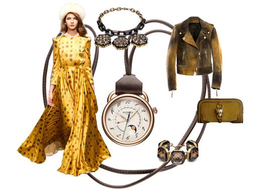 Куртка Diesel, платье a`la Russe, туфли Gerard Darel, клатч Burberry, браслет и колье Gucci, часы Hermes