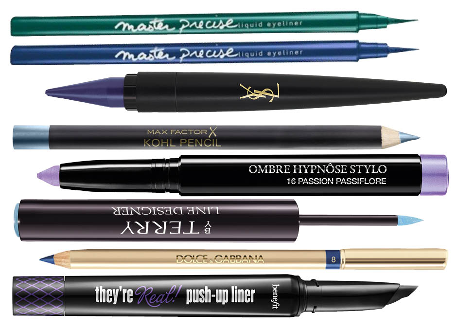 Maybelline Master Precise; YSL Couture Kajal; Max Factor Kohl Pencil Ice Blue; Lancome Ombre Hypnose Stylo; By Terry Waterproof Eyeliner Ocean Vibes; Dolce & Gabbana Eyeliner Crayon Intense Blue; Benefit Push-Up Liner