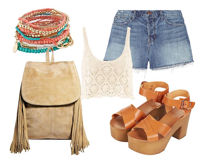 Выбор ELLE: топ H&M, джинсовые шорты J Brand, деревянные босоножки TopShop, замшевый рюкзак Asos, браслет Aldo