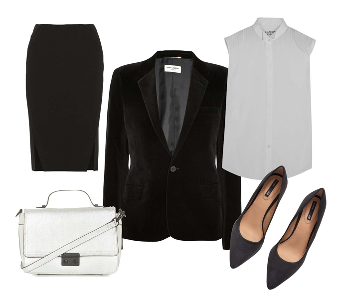 Выбор ELLE: рубашка Maison Martin Margiela, юбка Donna Karan, лодочки H&M, сумка TopShop