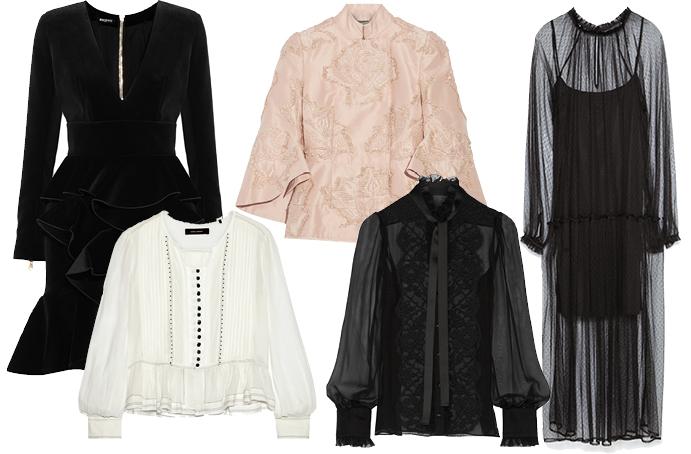 Выбор ELLE: платья Balmain и Zara, жакет Alexander McQueen, блузы Isabel Marant и Dolce&Gabbana