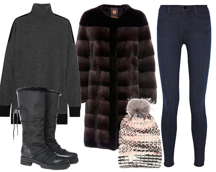 Выбор ELLE: шуба Braschi, джинсы J Brand, ботинки Jimmy Choo, водолазка Michael Kors, шапка Missoni