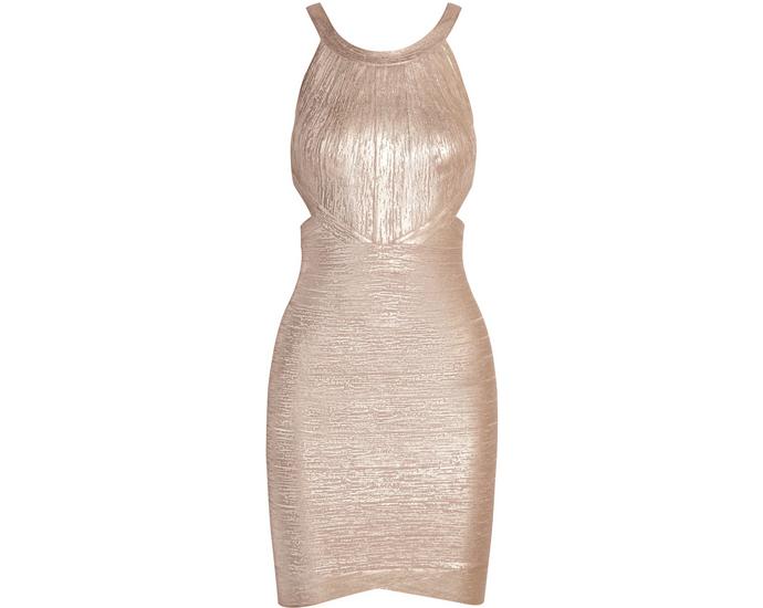 Золотое платье Herve Leger