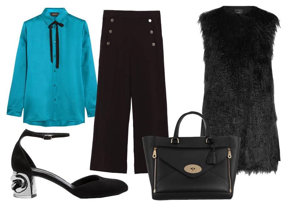 Выбор ELLE: брюки Zara, блуза Gucci, сумка Mulberry, туфли Casadei Maxi Chain