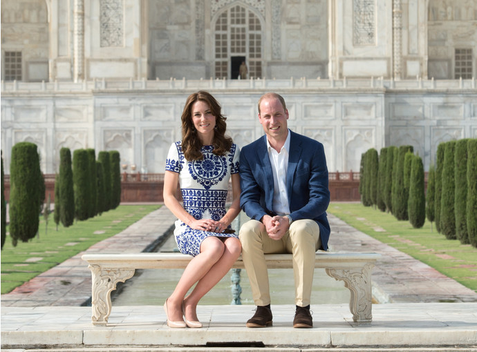 Кейт Миддлтон и принц Уильям у Тадж-Махала