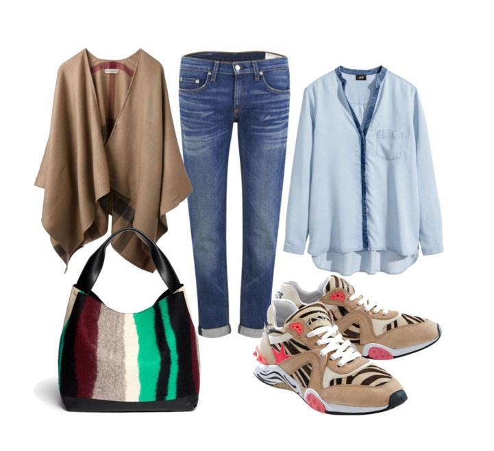 Выбор ELLE: блузка H&M, пончо Burberry, джинсы Rag & Bone, сумка Marni