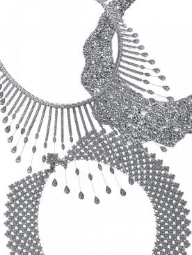 Колье, Chopard, белое золото, бриллианты  Колье, Lorraine Schwartz, белое золото, бриллианты  Колье Lace, Tiffany & Co., платина, бриллианты