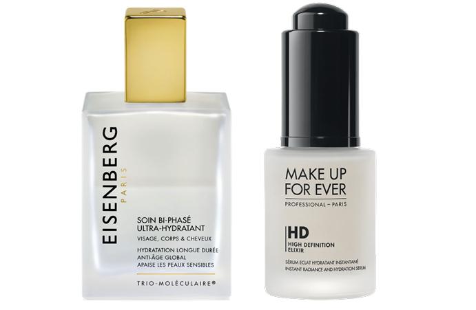 Увлажняющий спрей для лица и тела Eisenberg Soin Bi-Phase Ultra-Hydratant; Увлажняющая база под макияж Make Up For Ever HIGH DEFINITION ELIXIR